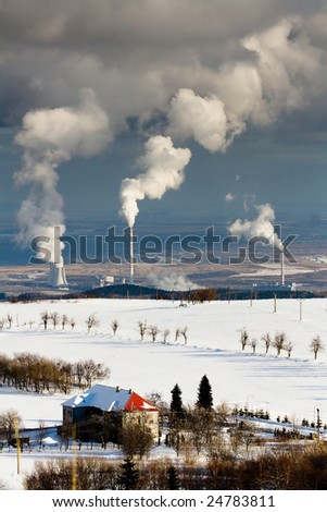 Industry vs. nature - stock photo