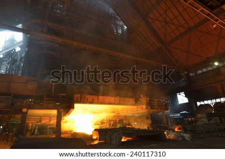 Inerior of the steel foundry - stock photo