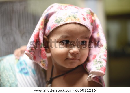 Infant Baby Girl After Bath Portrait Stock Photo (Royalty Free ...