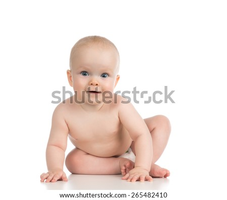 Infant child baby girl in diaper lying sitting happy smiling on a white background
