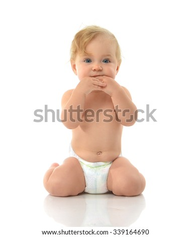 Infant child baby girl in diaper sitting happy looking at the camera isolated on a white background - stock photo