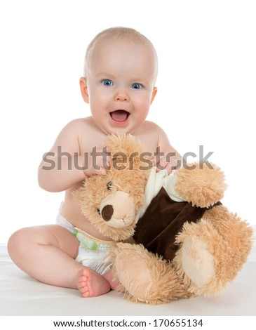Infant child baby girl shouting yelling in diaper with teddy bear on white background - stock photo