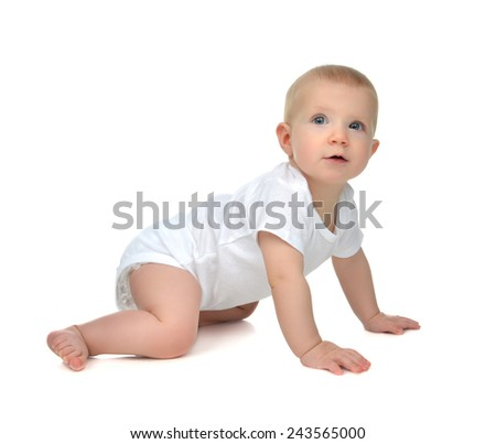 Infant child baby toddler sitting or crawling happy smiling looking at the corner on a white background - stock photo