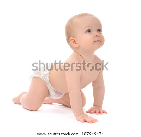 Infant child baby toddler sitting or crawling happy smiling on a white background - stock photo