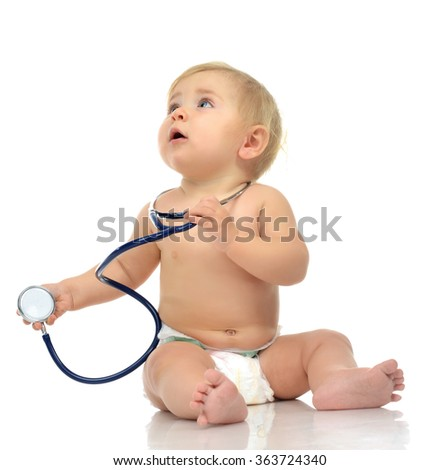 Infant child baby toddler sitting with medical stethoscope for physical therapy isolated on a white background - stock photo