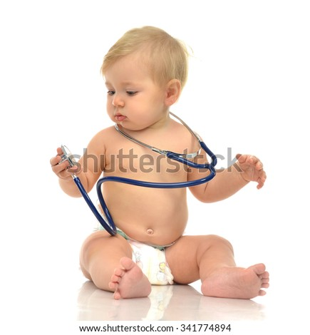 Infant child baby toddler sitting with medical stethoscope for physical therapy on a white background - stock photo