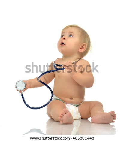 Infant child baby toddler sitting with medical stethoscope for physical therapy test on a white background