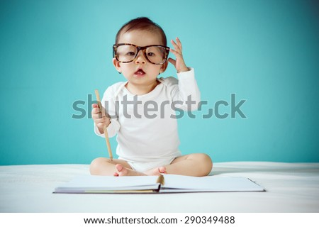 Infant child crawl - stock photo