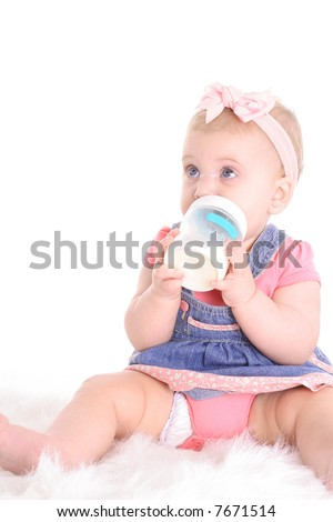infant child drinking milk - stock photo