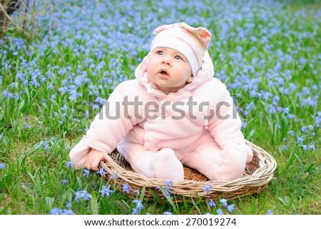 infant flower baby girl basket - stock photo