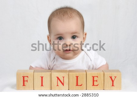 Infant in the Studio with Blocks - stock photo