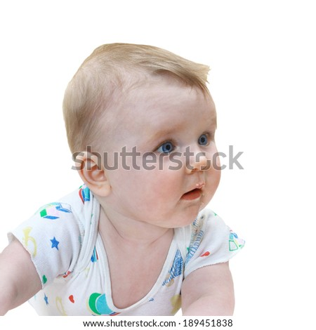 Infant looks at side closeup isolated on white background - stock photo