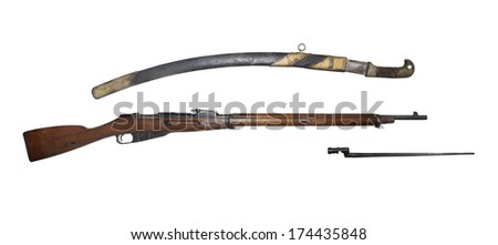Infantry rifle and saber model 1891 - is isolated onthe white - stock photo