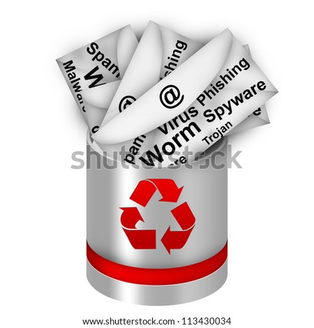 Infected Email In Red And Silver Metallic Recycle Bin For Computer Security Concept Isolated on White Background - stock photo