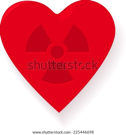 Infected heart with radiation sign - stock photo
