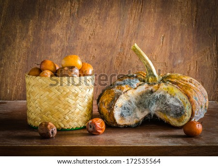 Infected pumpkin by fungi and bad monkey apple on table in the k - stock photo