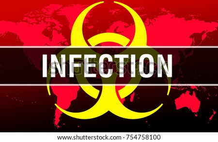 Infection on world map background hazard stock illustration infection on world map background with hazard symbol as infection concept 3d rendering publicscrutiny Gallery