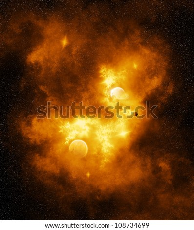 Inferno Galaxy - A flaming orange galaxy or nebula with planets and stars (Illustration)