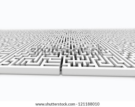 infinite labyrinth on white isolated - stock photo