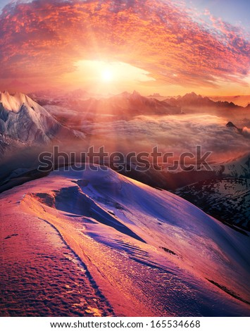 Infinite space alpine peaks fascinates the traveler and calls him into the mountains again and again. - stock photo
