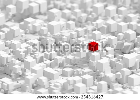 Infinite white cubes, with a red one representing success and distinction.