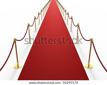 Infinitely long red carpet - stock photo