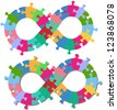 Infinity endless loop or figure eight shape jigsaw puzzle pieces isolated or with shadow - stock photo