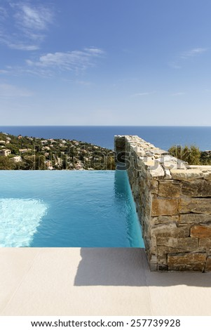 infinity pool south of France - stock photo