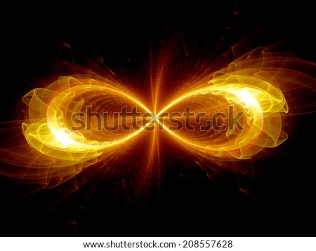Infinity sign, fire flame, computer generated fractal background - stock photo