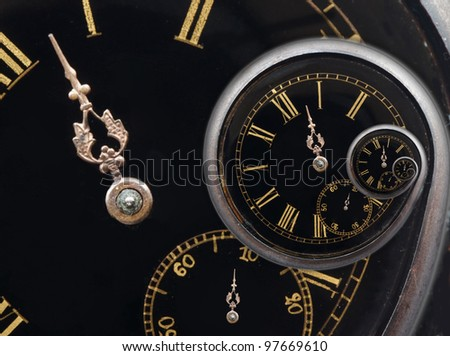 Infinity time spiral,recursive twisted clock face. - stock photo
