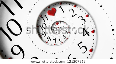 Infinity time with heart shapes. Infinity love concept. - stock photo