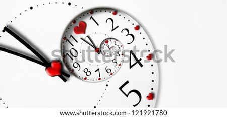 Infinity time with heart shapes. Time to love concept. - stock photo