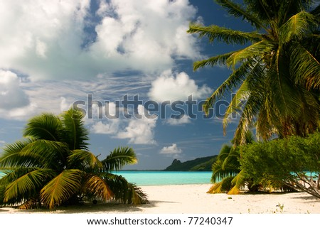 Infinity tropical beach on Maupiti, French Polynesia, Society Islands - stock photo