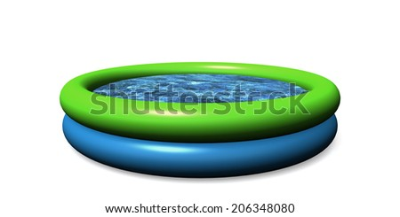 Inflatable blue and green kiddie pool on a white background - stock photo