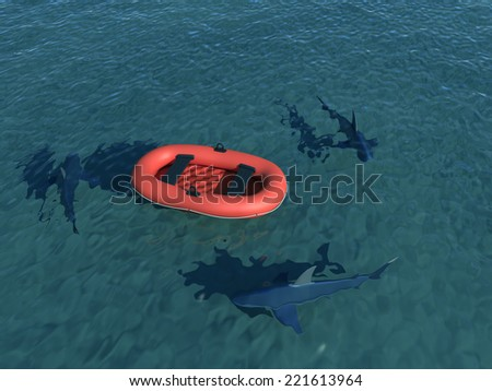 inflatable boat - stock photo