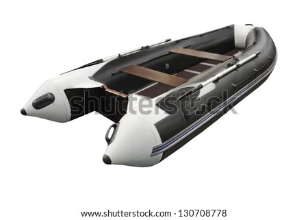 inflatable boats under the white background - stock photo