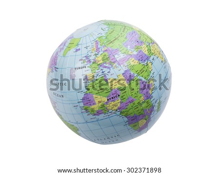 Inflated plastic earth toy showing Europe