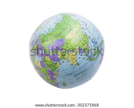 Inflated plastic earth toy showing India - stock photo