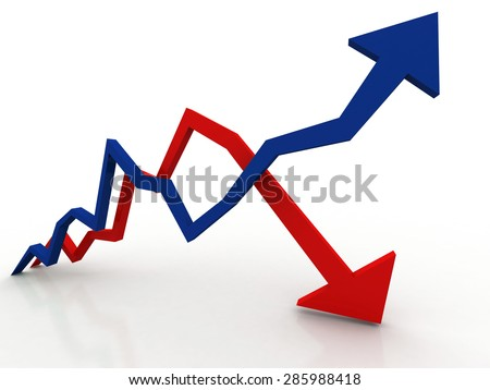 inflation and deflation graph - stock photo