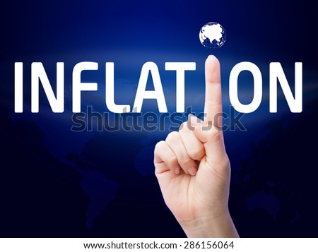 Inflation. Businessman shows on a virtual screen. Business, technology, internet and networking concept. - stock photo