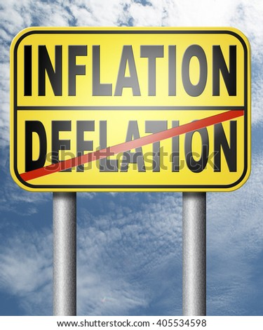 inflation deflation bank crisis or financial and economic recession or stock market rise