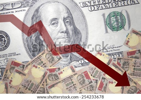 Inflation Indian Rupee against the backdrop of the US dollar - stock photo