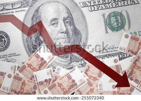 Inflation of the Russian ruble against the backdrop of the US dollar - stock photo