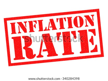 INFLATION RATE red Rubber Stamp over a white background. - stock photo