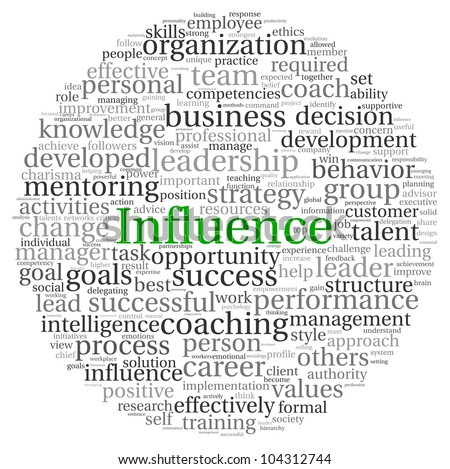 Influence concept in word tag cloud on white background - stock photo
