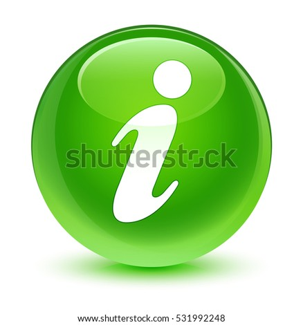 Info icon glassy green round button
