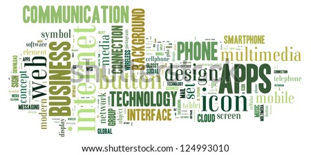 Info text graphic Apps in word shape isolated in white background