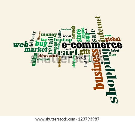 Info text graphic E-Commerce in word shape isolated in white background