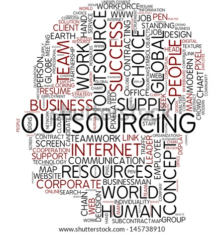 Info-text graphic - outsourcing - stock photo