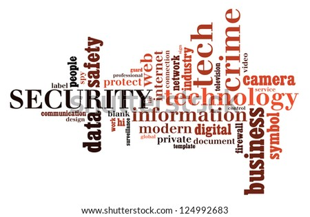 Info text graphic Security in word shape isolated in white background